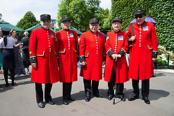 © Licensed to London News Pictures. 04/07/2018. London, UK. Chelsea pensioners attend the Wimbledon Tennis Championships 2018, Day 3. Photo credit: Ray Tang/LNP