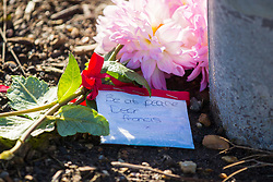 © Licensed to London News Pictures. 24/09/2018. Brooke UK. Flowers left at the scene in the village of Brooke this morning where the body of a woman was found yesterday 23/09/2018. A man in his 80's has been arrested on suspicion of murder, officers were called to the property in Churchill Place, Brooke at around 10:30am to reports a woman had been stabbed, they discovered the body of a woman who was pronounced dead at the scene. Photo credit: Andrew McCaren/LNP