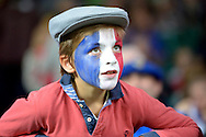 a Young French fan in face paint watching the match. Rugby World Cup 2015 pool D match, France v Italy at Twickenham Stadium in London on Saturday 19th September 2015.<br /> pic by John Patrick Fletcher, Andrew Orchard sports photography.