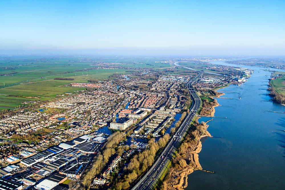 Nederland, Zuid-Holland, Hardinxveld-Giessendam, 07-02-2018; zicht op Neder-Hardinxveld en de Alblasserwaard.<br /> Urban area next to polder and river, province South Holland.<br /> <br /> luchtfoto (toeslag op standard tarieven);<br /> aerial photo (additional fee required);<br /> copyright foto/photo Siebe Swart