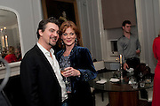 Alex Hanson; Samantha Bond, First night for 'An Ideal Husband' by Oscar Wilde ÐThe play opened at The Vaudeville Theatre with a party after  Kettners, Soho. 10 November 2010. . -DO NOT ARCHIVE-© Copyright Photograph by Dafydd Jones. 248 Clapham Rd. London SW9 0PZ. Tel 0207 820 0771. www.dafjones.com.<br /> Alex Hanson; Samantha Bond, First night for 'An Ideal Husband' by Oscar Wilde –The play opened at The Vaudeville Theatre with a party after  Kettners, Soho. 10 November 2010. . -DO NOT ARCHIVE-© Copyright Photograph by Dafydd Jones. 248 Clapham Rd. London SW9 0PZ. Tel 0207 820 0771. www.dafjones.com.