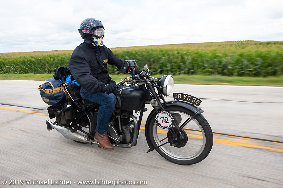Larry Luce riding his 1938 Velocette KSS in the Cross Country Chase motorcycle endurance run from Sault Sainte Marie, MI to Key West, FL (for vintage bikes from 1930-1948). Stage 3 from Milwaukee, WI to Urbana, IL. USA. Sunday, September 8, 2019. Photography ©2019 Michael Lichter.