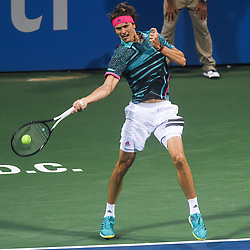 August 2, 2018 - Washington, D.C, U.S - ALEXANDER ZVEREV hits a forehand during his 3rd round match at the Citi Open at the Rock Creek Park Tennis Center in Washington, D.C. (Credit Image: © Kyle Gustafson via ZUMA Wire)