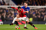 Henrikh Mkhitaryan of Manchester United holds off Cesar Azpilicueta of Chelsea .Premier league match, Chelsea v Manchester United at Stamford Bridge in London on Sunday 5th November 2017.<br /> pic by Andrew Orchard sports photography.