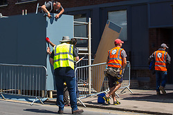Workers dismantle a TV camera position on the day following the wedding of Prince Harry to Meghan Markle in Windsor, Berkshire. WINDSOR, May 20 2018.