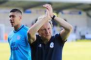 Cardiff City manager Neil Warnock thanks fans and players during the EFL Sky Bet Championship match between Burton Albion and Cardiff City at the Pirelli Stadium, Burton upon Trent, England on 5 August 2017. Photo by Richard Holmes.