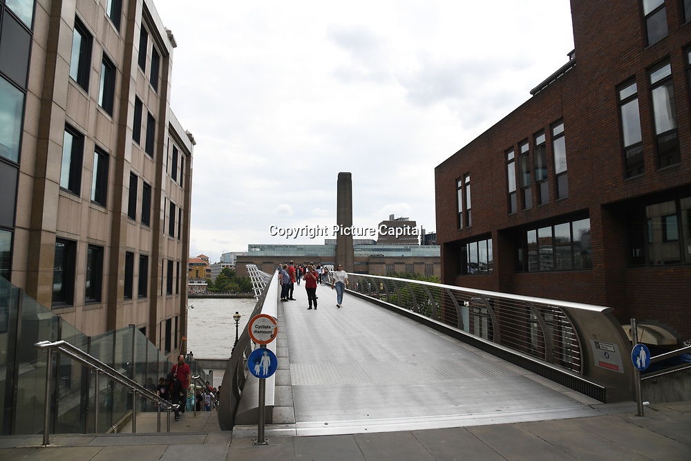 Millennium Bridge, and Tate Modern on 18 July 2019, City of London, UK.