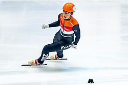 Netherlands with Suzanne Schulting in action and win on the finish line on the 3000 meter relay during ISU World Cup Finals Shorttrack 2020 on February 14, 2020 in Optisport Sportboulevard Dordrecht.