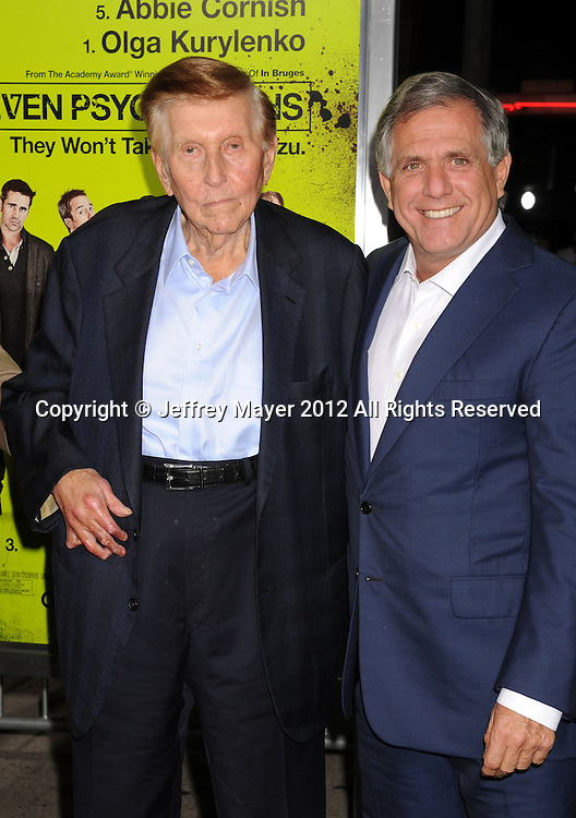 WESTWOOD, CA - OCTOBER 01: Sumner Redstone and Leslie Moonves arrive at the Los Angeles premiere of 'Seven Psychopaths' at Mann Bruin Theatre on October 1, 2012 in Westwood, California.