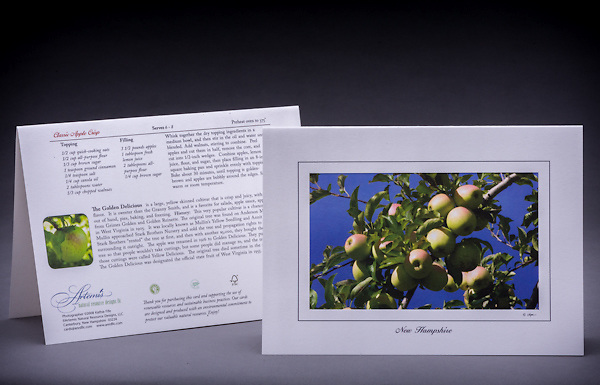 Who doesn't love apple picking during the fall in NH? <br /> <br /> Artemis Photo Greeting Cards featuring NH native flora and fauna and historic sites. The cards are made exclusively in NH made from 100% FSC recycled paper, manufactured with wind and water power, and are archival acid free paper. Each card includes details on the back about the image, including interesting anecdotes, historic facts, conservation status, and recipes.