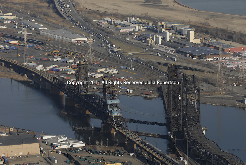 Aerial views of the Newark Turnpike over the Newark, new jersey bay.