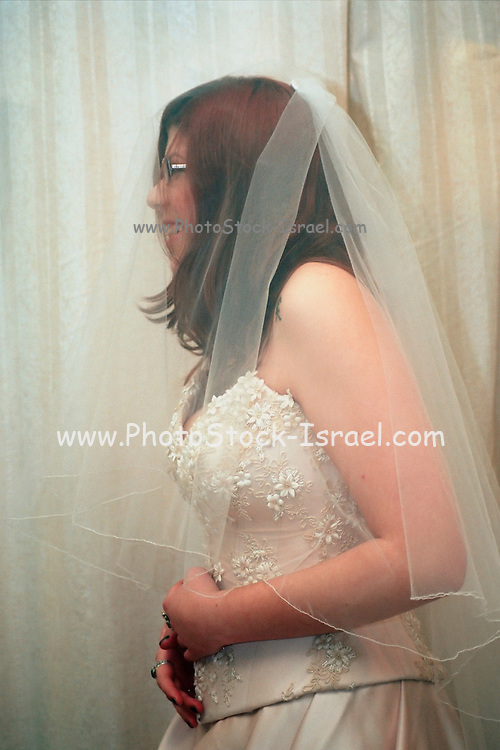 trying on the bridal dress, MR
