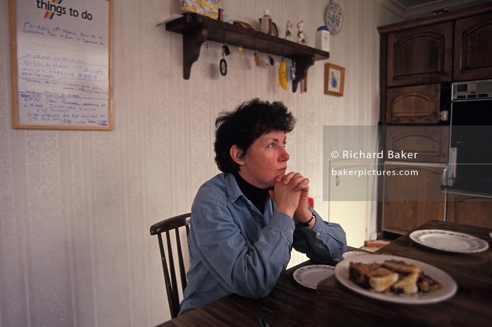 The Irish peace campaigner, Susan McHugh at home, on 16th May 1993, in Dublin, Ireland. Susan McHugh is an Irish peace campaigner who organised rallies in Dublin for peace in Northern Ireland and against the IRA following the bombing in Warrington on March 20, 1992.