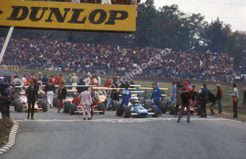 The grid for the 1968 United States Grand Prix at Watkins Glen. On the front row: Mario Andretti (Lotus-Ford) and Jackie Stewart (Tyrrell Matra-Ford). Photo: Grand Prix Photo