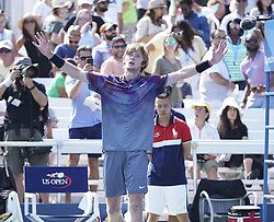September 4, 2017 - New York, New York, United States - New York, NY USA - September 4, 2017: Andrey Rublev of Russia celebrates victory against David Goffin of Belgium at US Open Championships at Billie Jean King National Tennis Center  (Credit Image: © Lev Radin/Pacific Press via ZUMA Wire)