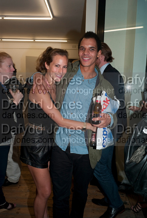 """CHARLOTTE DELLAL; BEN HYPOLITE, Video artist Yi Zhou  first solo show """"I am your Simulacrum"""".Exhibition opening at 20 Hoxton Square Projects. Hoxton Sq. London. 1 September 2010.  -DO NOT ARCHIVE-© Copyright Photograph by Dafydd Jones. 248 Clapham Rd. London SW9 0PZ. Tel 0207 820 0771. www.dafjones.com."""