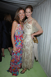 Left to right, HEATHER KERZNER and TRINNY WOODALL at the annual Cartier Chelsea Flower Show dinner held at the Chelsea Physic Garden, London on 21st May 2007.<br />