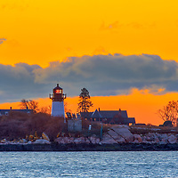 Dawn at Ten Pound Island Lighthouse in Gloucester Massachusetts on Cape Ann.<br />