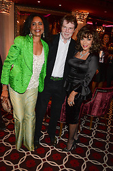 Left to right, HAZEL COLLINS, her husband BILL COLLINS and JOAN COLLINS at a party to celebrate the publication of 'Passion for Life' by Joan Collins held at No41 The Westbury Hotel, Mayfair, London on21st October 2013.