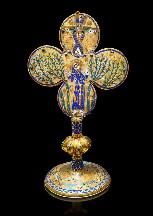 Medieval Gothic reliquary of Saint Francis of Assisi made in Limoges around 1228, enamel on gold. inv 4083, The Louvre Museum, Paris. .<br /> <br /> If you prefer you can also buy from our ALAMY PHOTO LIBRARY Collection visit : https://www.alamy.com/portfolio/paul-williams-funkystock/limoges-enamel-antiquities.html Type - louvre - into the LOWER SEARCH WITHIN GALLERY box. <br /> <br /> Visit our MEDIEVAL ART PHOTO COLLECTIONS for more photos to download or buy as prints https://funkystock.photoshelter.com/gallery-collection/Medieval-Gothic-Art-Antiquities-Historic-Sites-Pictures-Images-of/C0000gZ8POl_DCqE