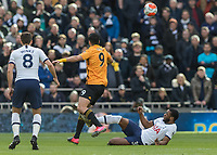 Football - 2019 / 2020 Premier League - Tottenham Hotspur vs. Wolverhampton Wanderers<br /> <br /> Japhet Tanganga (Tottenham FC)  catches Raul Jimenez (Wolverhampton Wanderers) as he slides in for the tackle at The Tottenham Hotspur Stadium.<br /> <br /> COLORSPORT/DANIEL BEARHAM