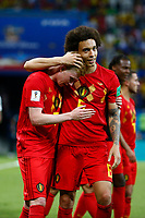 KAZAN, RUSSIA - JULY 6 : Axel Witsel midfielder of Belgium and Kevin De Bruyne forward of Belgium celebrates  during the FIFA 2018 World Cup Russia Quarter-final match between Brazil and Belgium at the Kazan Arena Stadium on July 06, 2018 in Kazan, Russia, 6/07/2018 <br /> Brasil - Belgia
