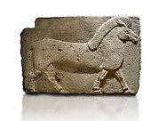 Phrygian relief sculpted orthostat stone panel. Andesite, Kucukevler, Ankara., 1200-700 B.C. Walking horse. Muscles in the legs of the figure are schematic. Anatolian Civilisations Museum, Ankara, Turkey<br /> <br /> Against a white background. .<br /> <br /> If you prefer you can also buy from our ALAMY PHOTO LIBRARY  Collection visit : https://www.alamy.com/portfolio/paul-williams-funkystock/phrygian-antiquities.html  - Type into the LOWER SEARCH WITHIN GALLERY box to refine search by adding background colour, place, museum etc<br /> <br /> Visit our CLASSICAL WORLD PHOTO COLLECTIONS for more photos to download or buy as wall art prints https://funkystock.photoshelter.com/gallery-collection/Classical-Era-Historic-Sites-Archaeological-Sites-Pictures-Images/C0000g4bSGiDL9rw