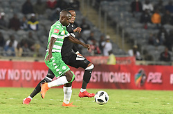 Mthokozisi Dube of Orlando Pirates battle for the ball with Deon Hotto of Bloemfontein Celtic during the ABSA premiership league at Orlando stadium, Soweto.<br />Picture: Itumeleng English/ African News Agency /ANA<br />04.04.2018<br />320