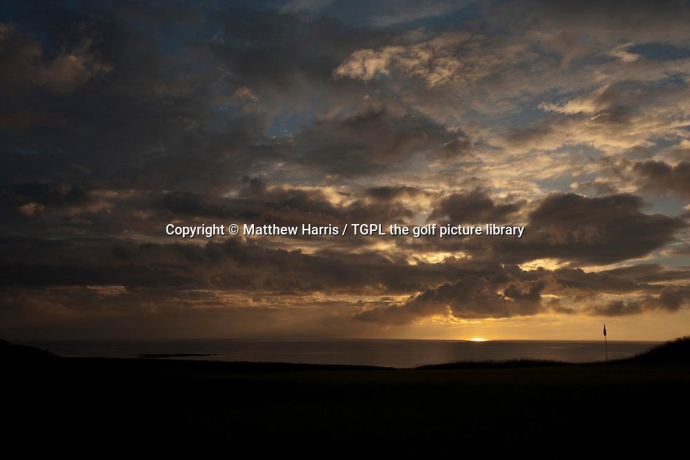 Sunset over 18th par 4 at Kingsbarns Golf Links during summer ,Kingsbarns,Fife,Scotland.