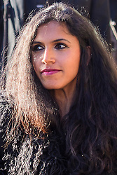 © Licensed to London News Pictures. 17/01/2017. London, UK. ADITI JAGANATHAN, seen at lunch break outside Willesden Magistrates Court in west London where she is one of nine people charged with wilfully obstructing the highway at Heathrow Airport. A group of protesters supporting the Black Lives Matter group blocked the M4 spur road to Heathrow Airport in August last year. Photo credit: Ben Cawthra/LNP
