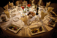 The table setting at the 37th International Emmy Awards Gala in New York on Monday, November 23, 2009.  ***EXCLUSIVE***