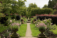 A view toward the rose garden at Newby Hall in Ripon, North Yorkshire, UK