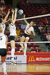 21 September 2007:  M.C. Richmond springs for a strike. The Wichita State Shockers bested the the Illinois State Redbirds on the floor of Doug Collins Court in Redbird Arena on the campus of Illinois State University in Normal Illinois taking the match in three games.