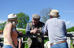 © Licensed to London News Pictures. <br /> 06/06/2014. <br /> <br /> Appleby, Cumbria, England<br /> <br /> Visitors chat as gypsies and travellers gather during the annual horse fair on 6 June, 2014 in Appleby, Cumbria. The event remains one of the largest and oldest events in Europe and gives the opportunity for travelling communities to meet friends, celebrate their music, folklore and to buy and sell horses.<br /> <br /> The event has existed under the protection of a charter granted by King James II in 1685 and it remains the most important event in the gypsy and traveller calendar.<br /> <br /> Photo credit : Ian Forsyth/LNP