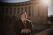 MONTGOMERY, AL – DECEMBER 14, 2015: Blake Percival stands in front of the federal courthouse where he filed a qui tam whistleblower lawsuit in 2011. Percival, a whistleblower, worked for 10 years as Director of Field Work Services at USIS, a private security company created by congress in 1996 to conduct national security background investigations. After discovering that his company was defrauding the government by falsifying background investigations, Percival ordered his 350 subordinates to stop submitting incomplete investigations. He was fired three months later. In April 2014, Percival's case was transferred to the US District Court in Washington, D.C. and later settled out of court. As a result of his case, 665,000 falsified background investigations were uncovered, including those of Bradley Manning, Aaron Alexis and Edward Snowden. (Photo by Bob Miller/For The Washington Post)