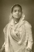 'Sunita Devi (1864-1932) Maharani of Kuch-Bihar, India, pictured c1894, consort of Nripendra Narayan Bhup Bahadur (1862-1911), Maharajah of Kuch-Bihar whom she married in 1878.'