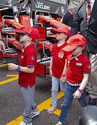 Jacques Grimaldi, Kaia Rose Wittstock, Gabriella Grimaldi stroll along the pit lane at the 77th Monaco Grand Prix, Monaco on May 25, 2019. Photo by Marco Piovanotto/ABACAPRESS.COM