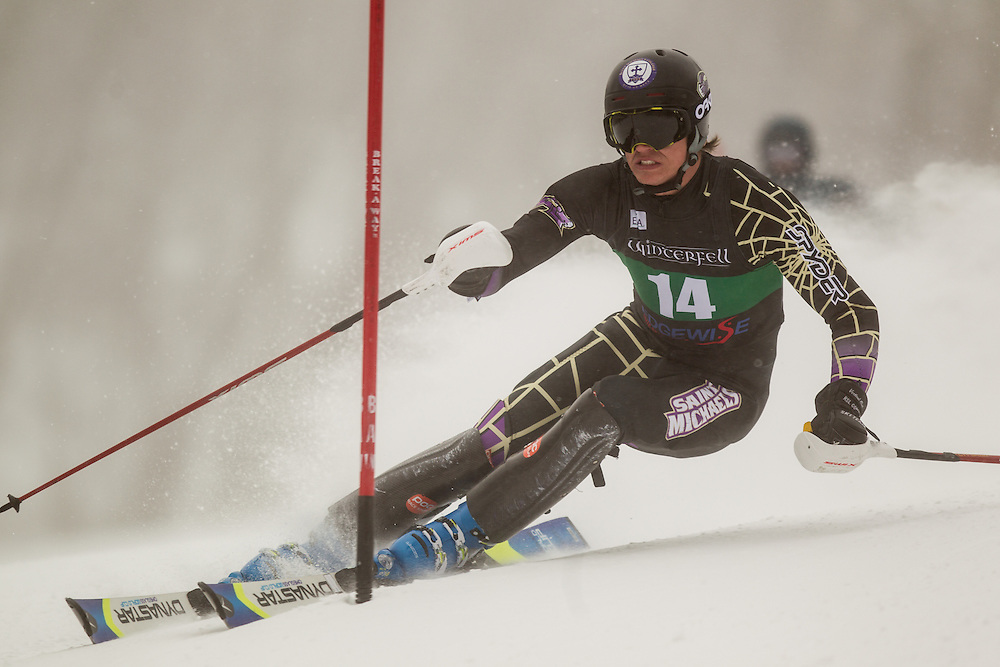 Fredrik Sandell of Saint Michael's College, skis during the first  run of the men's slalom at the University of New Hampshire Carnival at Cannon Mountain on January 25, 2014 in Franconia, NH. (Dustin Satloff/EISA)