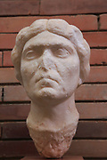 Bust of woman, Museo Nacional de Arte Romano, national museum of Roman art, Merida, Extremadura, Spain 1st century AD