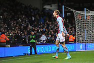 Aston Villa's Nicklas Helenius celebrates after scoring his sides 1st goal to equalise with Sheffield Utd during the FA Cup with Budweiser, 3rd round, Aston Villa v Sheffield Utd match  at Villa Park in Birmingham, England on Saturday 4th Jan 2014.<br /> pic by Jeff Thomas, Andrew Orchard sports photography.