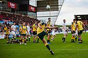 Australia fly-half Mack Mason puts in a clearance kick during the World Rugby U20 Championship  match England U20 -V- Australia U20 at The AJ Bell Stadium, Salford, Greater Manchester, England on June  15  2016, (Steve Flynn/Image of Sport)
