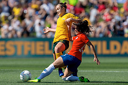 November 10, 2018 - Penrith, NSW, U.S. - PENRITH, NSW - NOVEMBER 10: Australian forward Caitlin Foord (9) is tackled by Chilean midfielder Su Helen Galaz (15) at the international women's soccer match between Australia and Chile at Panthers Stadium in NSW on November 10, 2018. (Photo by Speed Media/Icon Sportswire) (Credit Image: © Speed Media/Icon SMI via ZUMA Press)