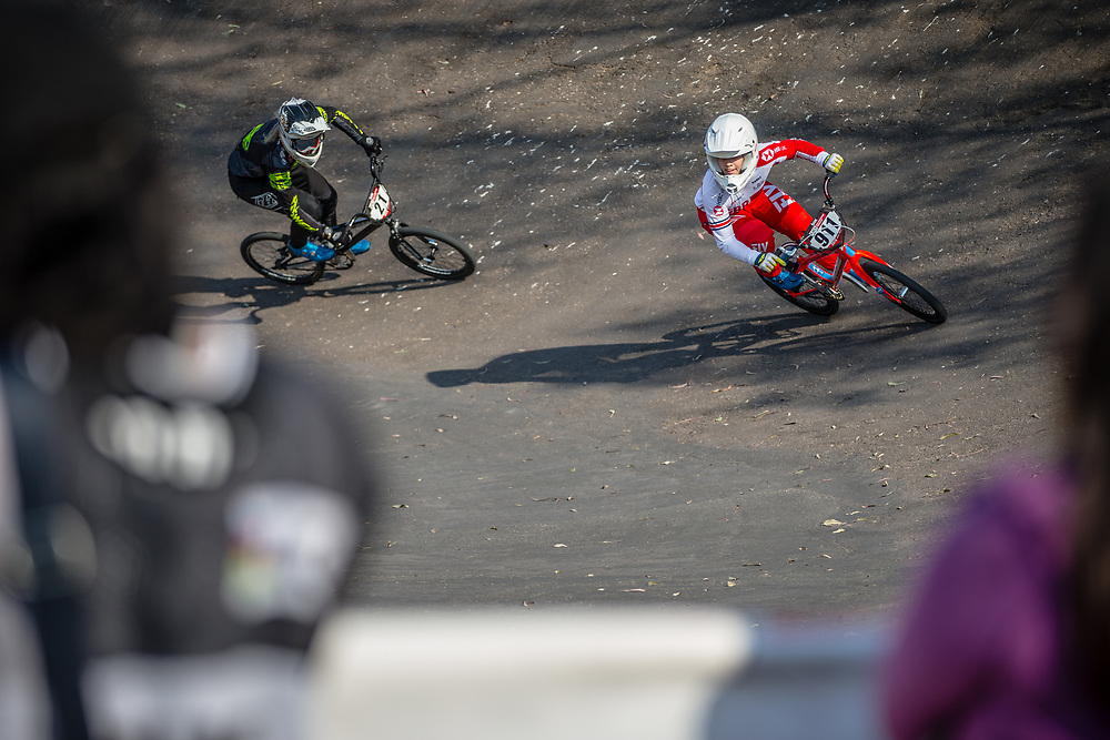 #911 (SHRIEVER Bethany) GBR and #21 (REYNOLDS Lauren) AUS at Round 10 of the 2019 UCI BMX Supercross World Cup in Santiago del Estero, Argentina