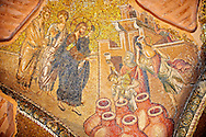 The 11th century Roman Byzantine Church of the Holy Saviour in Chora and its mosaic of the miracle of Christ turning water into wine.  Endowed between 1315-1321  by the powerful Byzantine statesman and humanist Theodore Metochites. Kariye Museum, Istanbul .<br /> <br /> If you prefer to buy from our ALAMY PHOTO LIBRARY  Collection visit : https://www.alamy.com/portfolio/paul-williams-funkystock/holy-saviour-chora-istanbul.html<br /> <br /> Visit our TURKEY PHOTO COLLECTIONS for more photos to download or buy as wall art prints https://funkystock.photoshelter.com/gallery-collection/3f-Pictures-of-Turkey-Turkey-Photos-Images-Fotos/C0000U.hJWkZxAbg