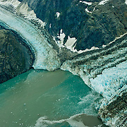 North America, United States, US, Northwest, Pacific Northwest, West, Alaska, Glacier Bay, Glacier Bay National Park, Glacier Bay NP. Johns Hopkins Glacier (R) and Gilman Glacier (L) in Glacier Bay National Park and Preserve, Alaska.