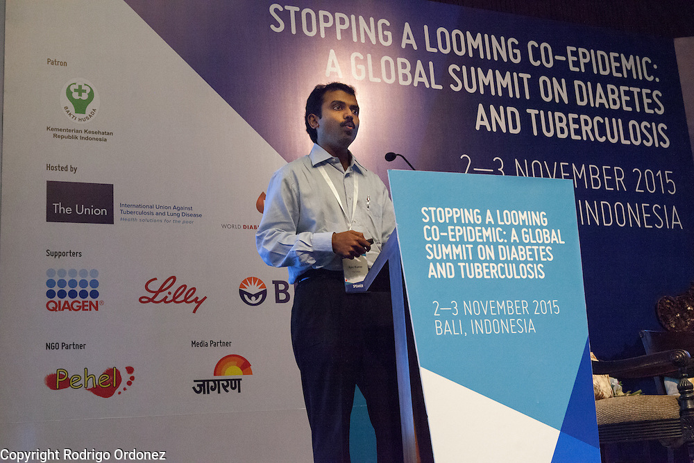 Dr Ajay Kumar, Deputy Director of The Union's Centre for Operational Research, speaks about bi-directional screening in India at the global summit on diabetes and tuberculosis in Bali, Indonesia, on November 2, 2015.<br /> The increasing interaction of TB and diabetes is projected to become a major public health issue.The summit gathered a hundred public health officials, leading researchers, civil society representatives and business and technology leaders, who committed to take action to stop this double threat. (Photo: Rodrigo Ordonez for The Union)