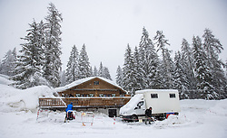 10.02.2021, Cortina, ITA, FIS Weltmeisterschaften Ski Alpin, Vorberichte, Die alpine Ski-Weltmeisterschaft findet von 8. bis 21. Februar 2021 in Cortina d'Ampezzo statt, im Bild Schneeräumung // Snow removal during preparations, the Alpine World Ski Championships will be held in Cortina d'Ampezzo from 8 to 21 February 2021, FIS Alpine Ski World Championships 2021 in Cortina, Italy on 2021/02/10. EXPA Pictures © 2021, PhotoCredit: EXPA/ Johann Groder