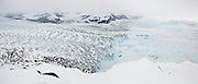Top view of the heavily crevassed terminus of the west (front) and main branches of the Columbia Glacier, near Valdez, Alaska.