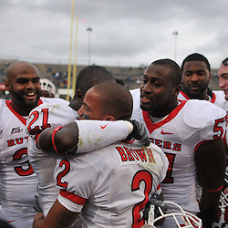 Oct 31, 2009; East Hartford, CT, USA; Rutgers wide receiver Tim Brown (2) is comforted by teammate Devin Mccourty (21) after Rutgers' 28-24 victory over Connecticut in Big East NCAA football at Rentschler Field.