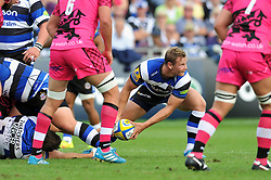 Chris Cook of Bath Rugby looks to get the ball away - Photo mandatory by-line: Patrick Khachfe/JMP - Mobile: 07966 386802 13/09/2014 - SPORT - RUGBY UNION - Bath - The Recreation Ground - Bath Rugby v London Welsh - Aviva Premiership